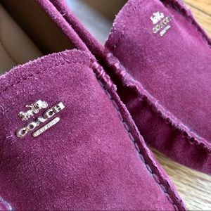 Coach maroon suede loafers